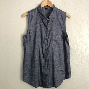 Theory Chambray Button Down Sleeveless Top Large